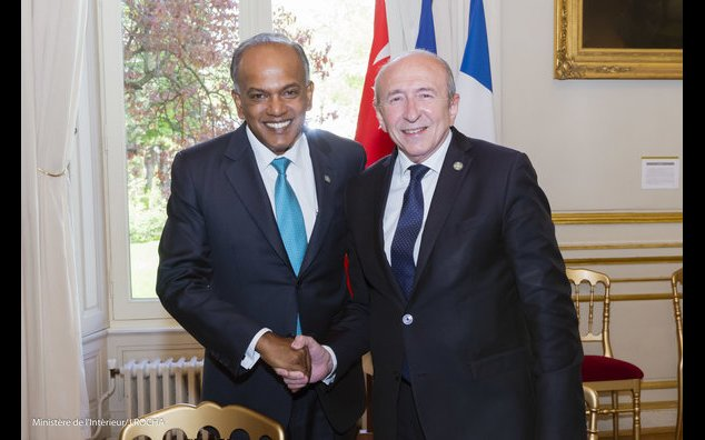 From left to right: Minister of Home Affairs and Minister of Law of Singapore, K. Shanmugam and French Minister of State, Minister of the Interior G. COLLOMB