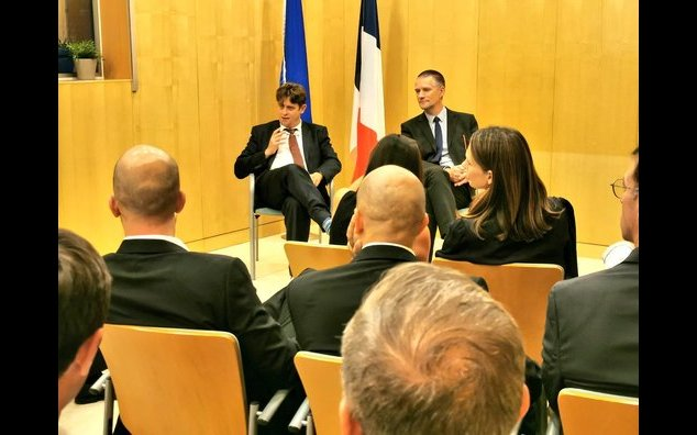 The French Ambassador for Digital Affairs, Henri Verdier and the Director General of the French Cybersecurity Agency (ANSSI), Guillaume Pourpard with French start-ups and enterprises