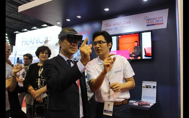 French Ambassador testing virtual reality product from The MRO Lab